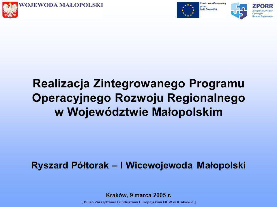 [ Biuro Zarządzania Funduszami Europejskimi MUW w Krakowie ] Realizacja Zintegrowanego Programu Operacyjnego Rozwoju Regionalnego w Województwie Małop