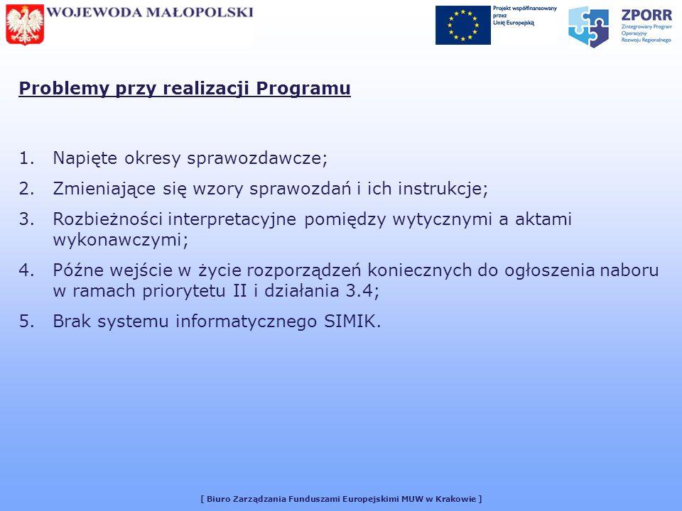 [ Biuro Zarządzania Funduszami Europejskimi MUW w Krakowie ] Problemy przy realizacji Programu 1.Napięte okresy sprawozdawcze; 2.Zmieniające się wzory sprawozdań i ich instrukcje; 3.Rozbieżności interpretacyjne pomiędzy wytycznymi a aktami wykonawczymi; 4.Późne wejście w życie rozporządzeń koniecznych do ogłoszenia naboru w ramach priorytetu II i działania 3.4; 5.Brak systemu informatycznego SIMIK.
