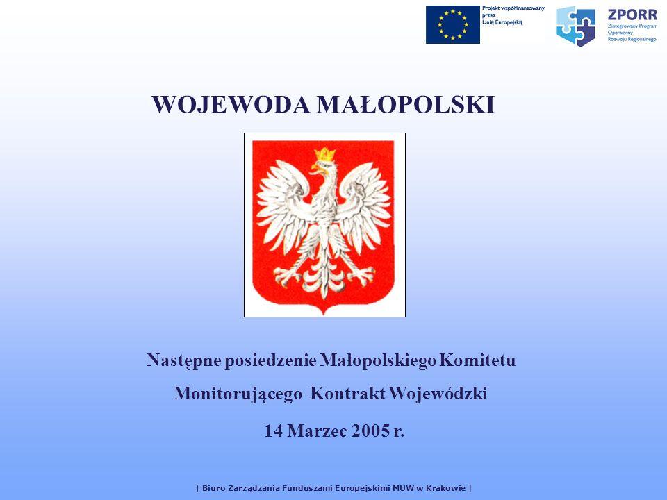[ Biuro Zarządzania Funduszami Europejskimi MUW w Krakowie ] WOJEWODA MAŁOPOLSKI Następne posiedzenie Małopolskiego Komitetu Monitorującego Kontrakt Wojewódzki 14 Marzec 2005 r.