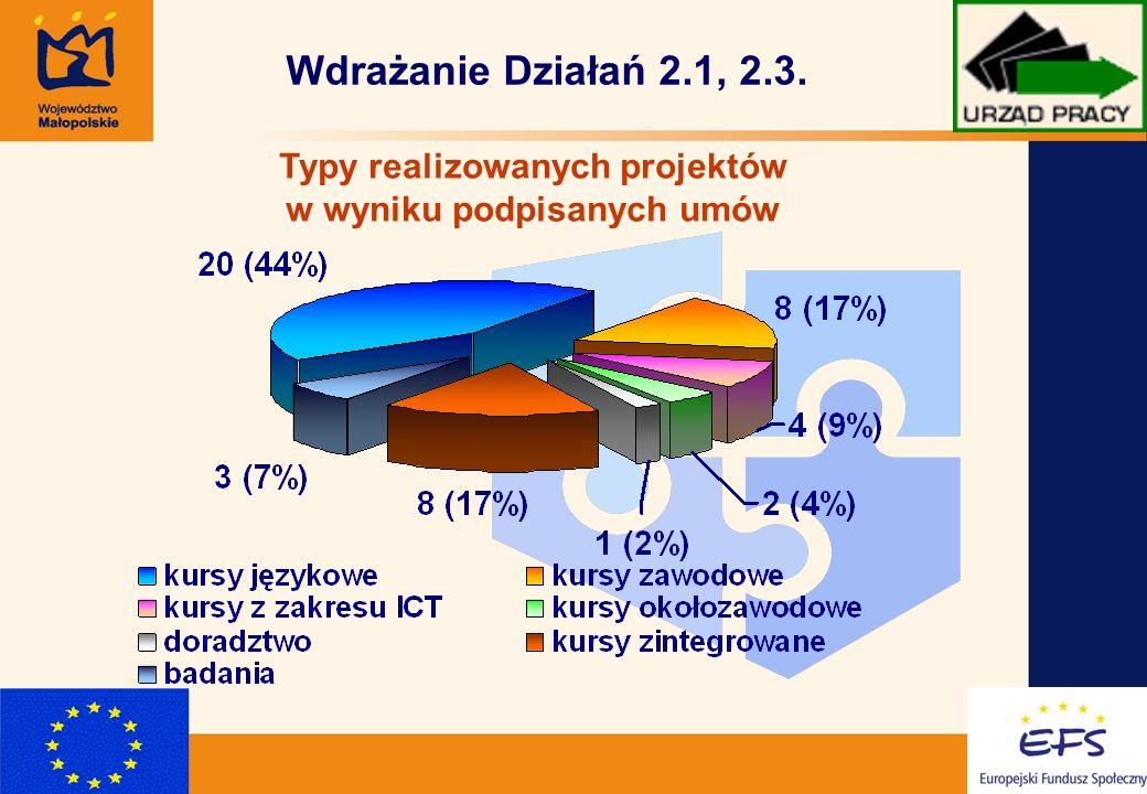 4 Wdrażanie Działań 2.1, 2.3. Typy realizowanych projektów w wyniku podpisanych umów