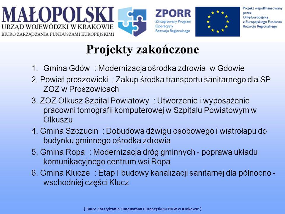 [ Biuro Zarządzania Funduszami Europejskimi MUW w Krakowie ] Projekty zakończone 1.Gmina Gdów : Modernizacja ośrodka zdrowia w Gdowie 2. Powiat proszo