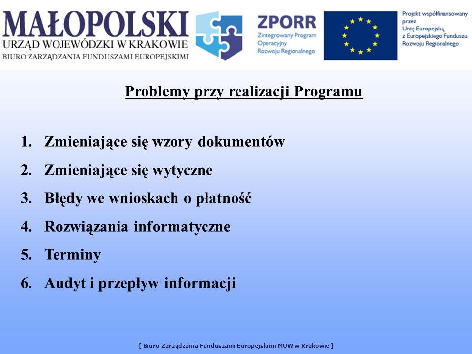 Problemy przy realizacji Programu 1.Zmieniające się wzory dokumentów 2.Zmieniające się wytyczne 3.Błędy we wnioskach o płatność 4.Rozwiązania informat