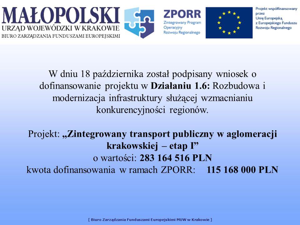 [ Biuro Zarządzania Funduszami Europejskimi MUW w Krakowie ] W dniu 18 października został podpisany wniosek o dofinansowanie projektu w Działaniu 1.6