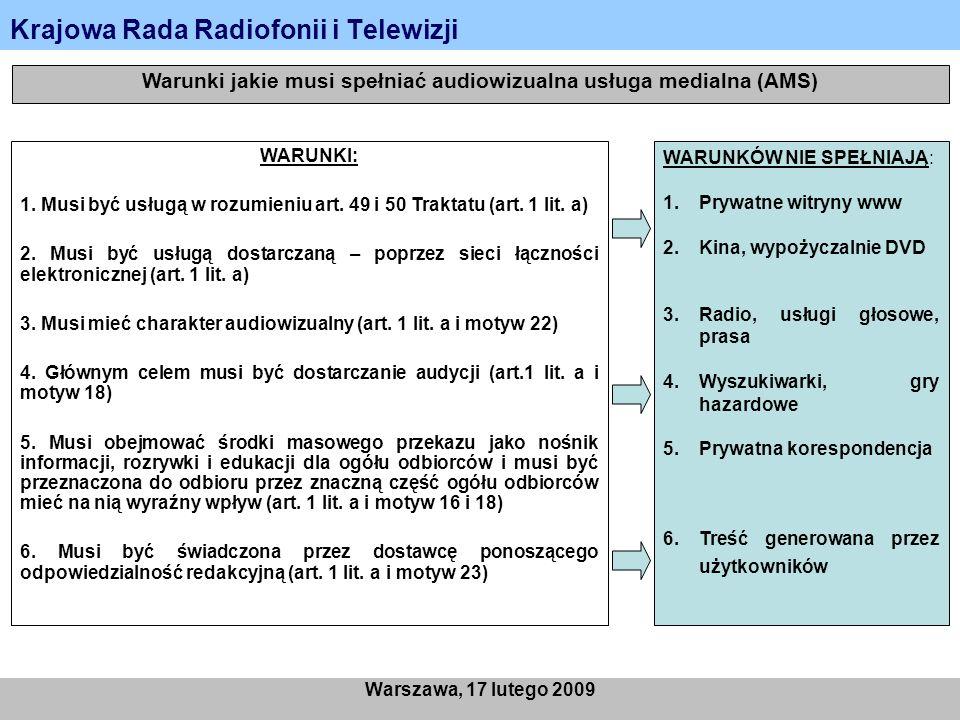 Krajowa Rada Radiofonii i Telewizji Warszawa, 17 lutego 2009 Warunki jakie musi spełniać audiowizualna usługa medialna (AMS) WARUNKI: 1. Musi być usłu