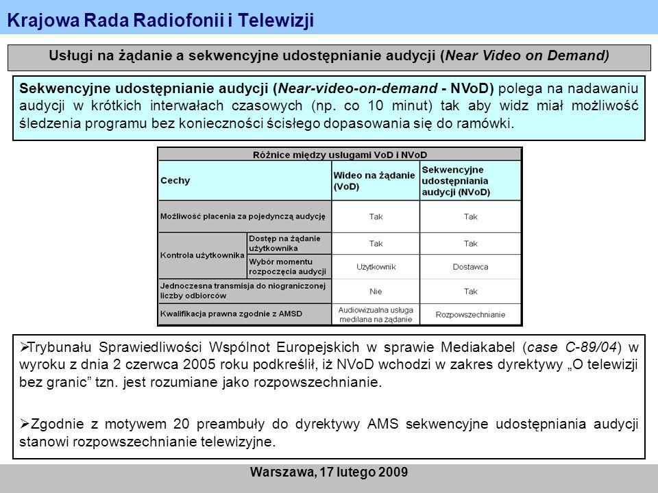 Krajowa Rada Radiofonii i Telewizji Warszawa, 17 lutego 2009 Rodzaje usług na żądanie - ze względu na miejsce przechowywania treści Push VoD – Usługa dostarczana za pomocą infrastruktury, która nie zapewnia kanału zwrotnego.