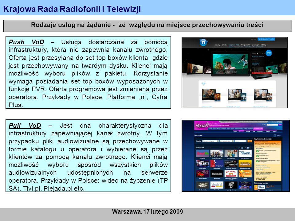 Krajowa Rada Radiofonii i Telewizji Warszawa, 17 lutego 2009 Rodzaje usług na żądanie - ze względu na miejsce przechowywania treści Push VoD – Usługa