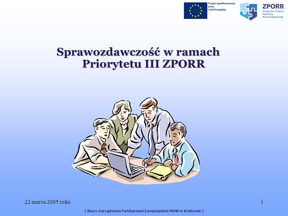 22 marca 2005 roku1 [ Biuro Zarządzania Funduszami Europejskimi MUW w Krakowie ] Sprawozdawczość w ramach Priorytetu III ZPORR