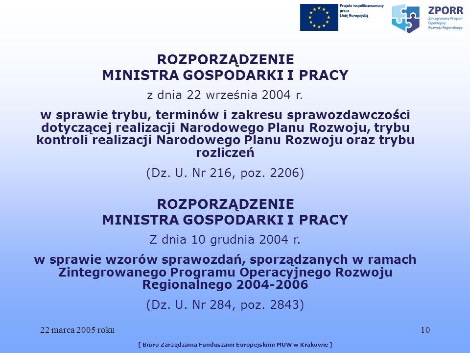 22 marca 2005 roku10 [ Biuro Zarządzania Funduszami Europejskimi MUW w Krakowie ] ROZPORZĄDZENIE MINISTRA GOSPODARKI I PRACY z dnia 22 września 2004 r.
