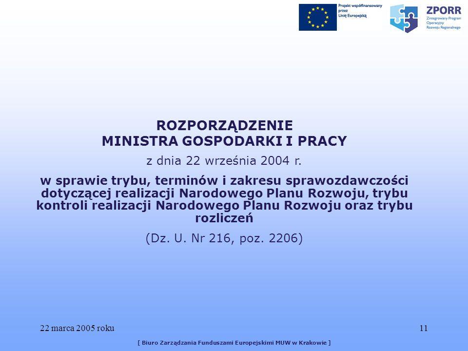 22 marca 2005 roku11 [ Biuro Zarządzania Funduszami Europejskimi MUW w Krakowie ] ROZPORZĄDZENIE MINISTRA GOSPODARKI I PRACY z dnia 22 września 2004 r.