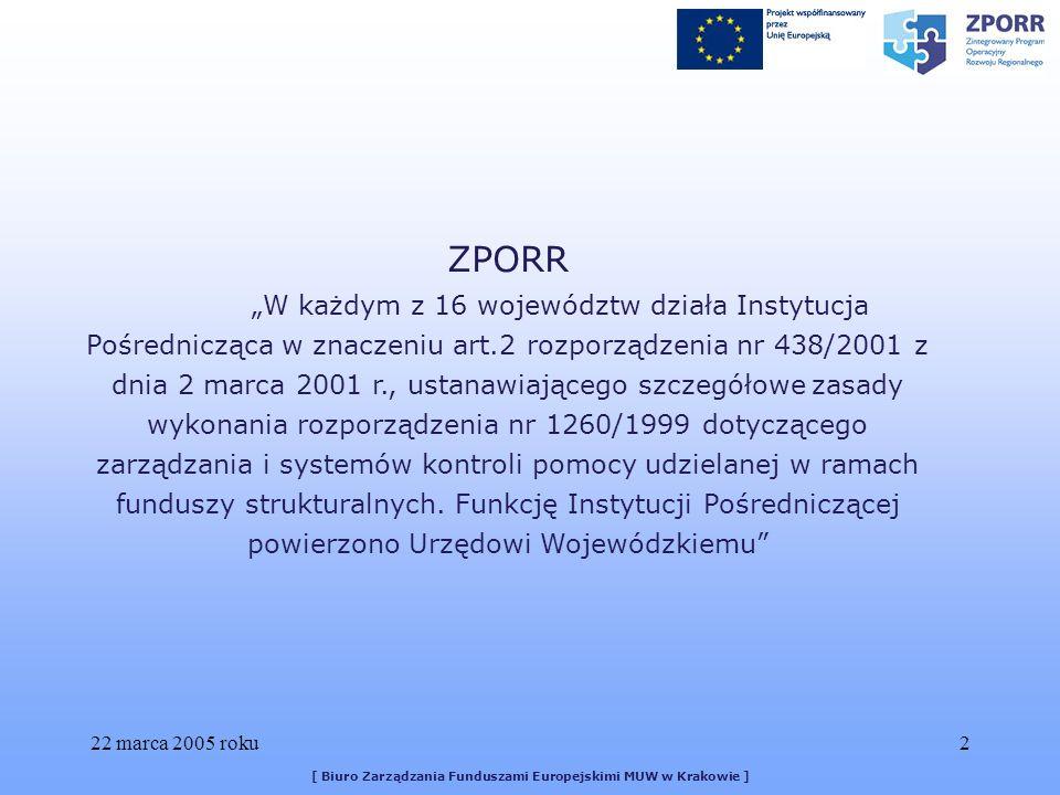 22 marca 2005 roku33 [ Biuro Zarządzania Funduszami Europejskimi MUW w Krakowie ]