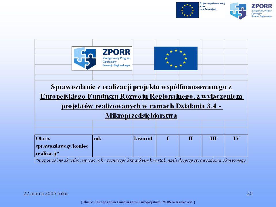 22 marca 2005 roku20 [ Biuro Zarządzania Funduszami Europejskimi MUW w Krakowie ]