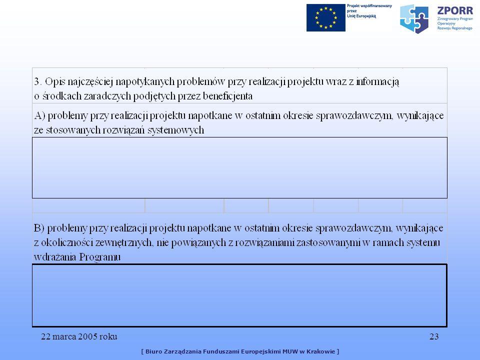 22 marca 2005 roku23 [ Biuro Zarządzania Funduszami Europejskimi MUW w Krakowie ]