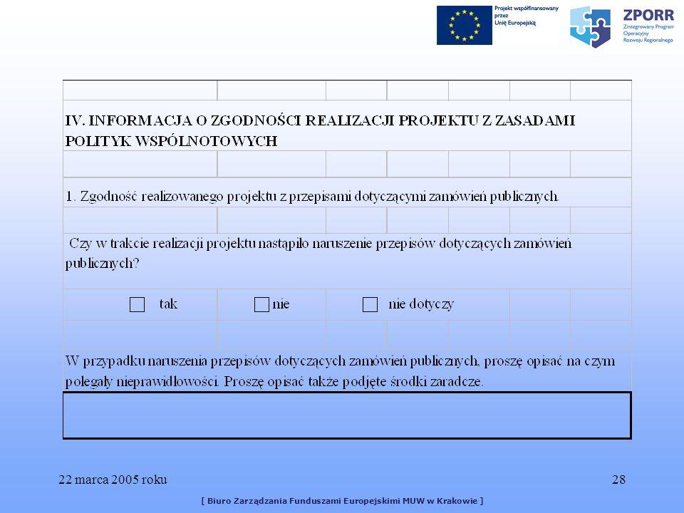 22 marca 2005 roku28 [ Biuro Zarządzania Funduszami Europejskimi MUW w Krakowie ]
