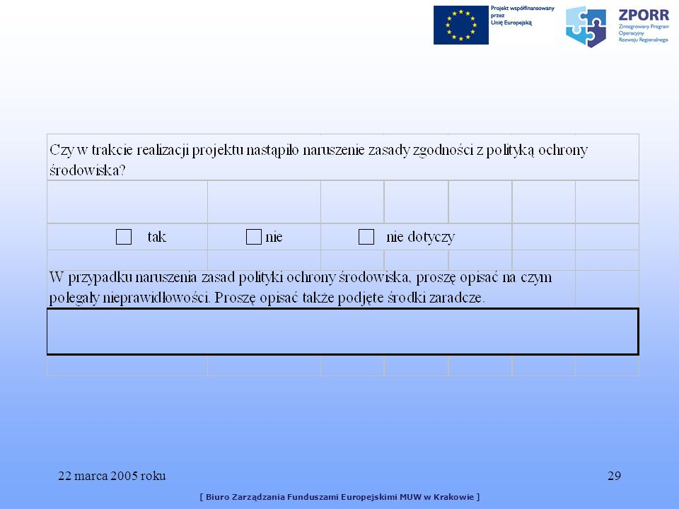22 marca 2005 roku29 [ Biuro Zarządzania Funduszami Europejskimi MUW w Krakowie ]