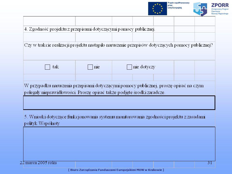 22 marca 2005 roku31 [ Biuro Zarządzania Funduszami Europejskimi MUW w Krakowie ]