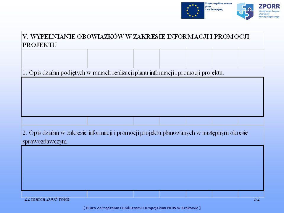 22 marca 2005 roku32 [ Biuro Zarządzania Funduszami Europejskimi MUW w Krakowie ]