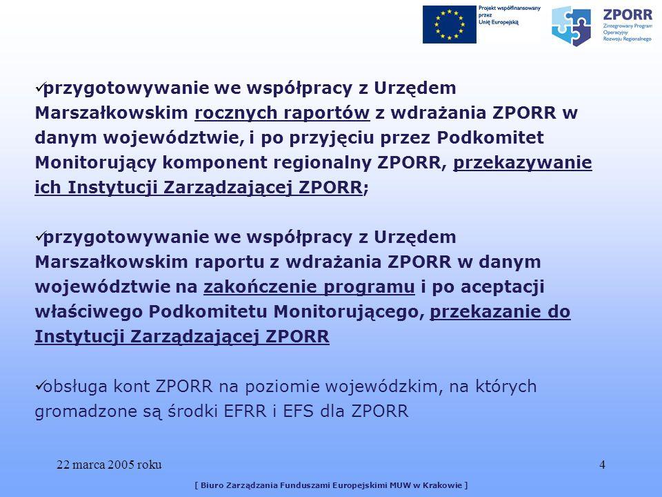22 marca 2005 roku45 [ Biuro Zarządzania Funduszami Europejskimi MUW w Krakowie ] Uwagi ogólne: -do każdego sprawozdania należy sporządzić pismo przewodnie – pozwala to łatwiej zidentyfikować Beneficjenta -nawet jeżeli dany Beneficjent realizuje w ramach ZPORR więcej niż jeden projekt, sprawozdania przesyła się odrębnie (dwa różne dokumenty, choć od jednego Beneficjenta) -proszę uważać na daty nadawane przez Państwa pismom przewodnim/sprawozdaniom (uważniejsze konstruowanie tych pism)