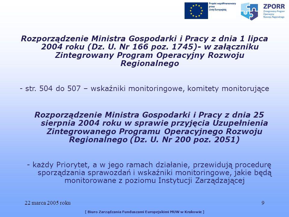 22 marca 2005 roku9 [ Biuro Zarządzania Funduszami Europejskimi MUW w Krakowie ] Rozporządzenie Ministra Gospodarki i Pracy z dnia 1 lipca 2004 roku (Dz.