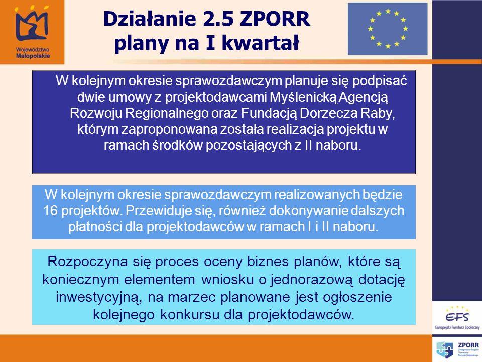 Działanie 2.5 ZPORR plany na I kwartał W kolejnym okresie sprawozdawczym planuje się podpisać dwie umowy z projektodawcami Myślenicką Agencją Rozwoju Regionalnego oraz Fundacją Dorzecza Raby, którym zaproponowana została realizacja projektu w ramach środków pozostających z II naboru.