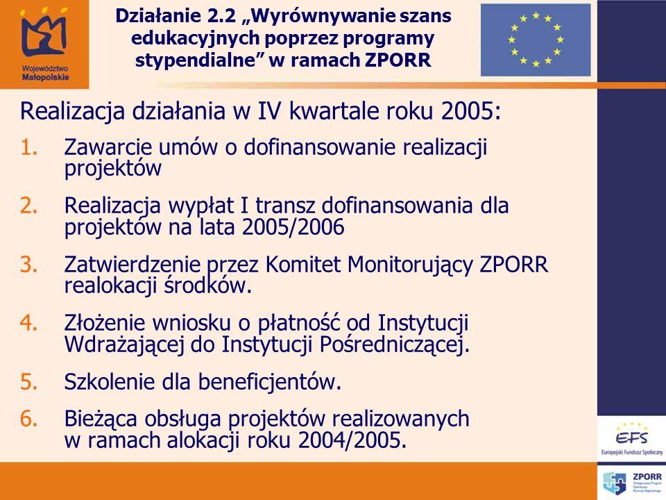 Realizacja działania w IV kwartale roku 2005: 1.Zawarcie umów o dofinansowanie realizacji projektów 2.Realizacja wypłat I transz dofinansowania dla projektów na lata 2005/2006 3.Zatwierdzenie przez Komitet Monitorujący ZPORR realokacji środków.