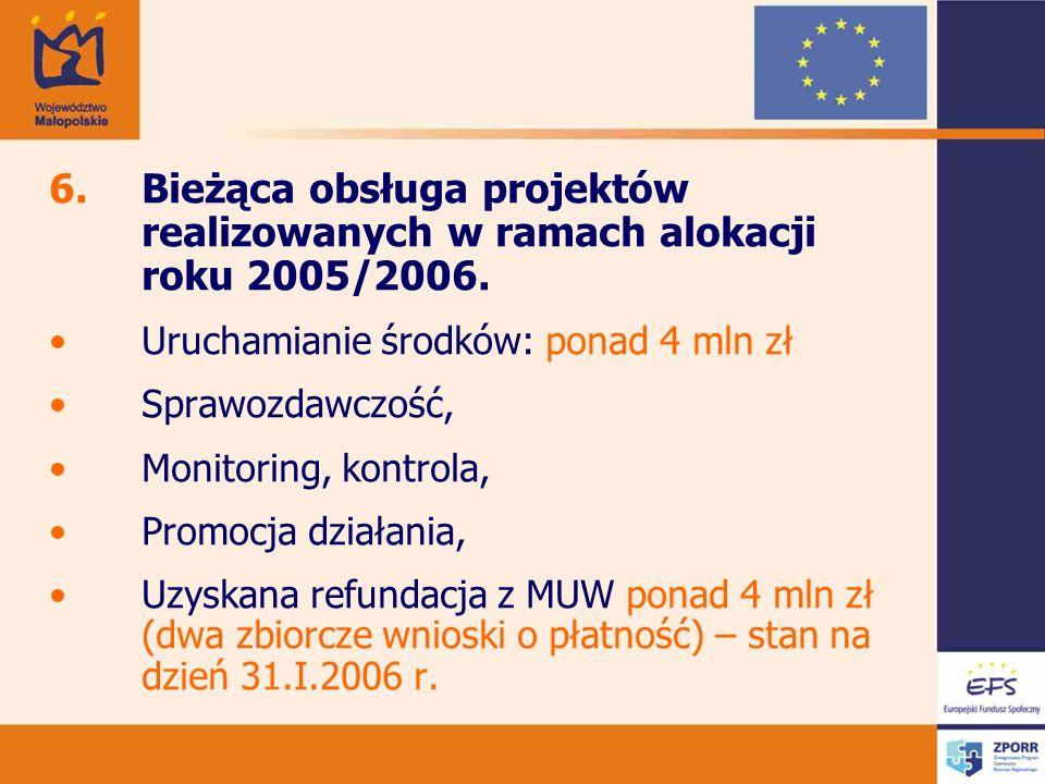 6.Bieżąca obsługa projektów realizowanych w ramach alokacji roku 2005/2006.