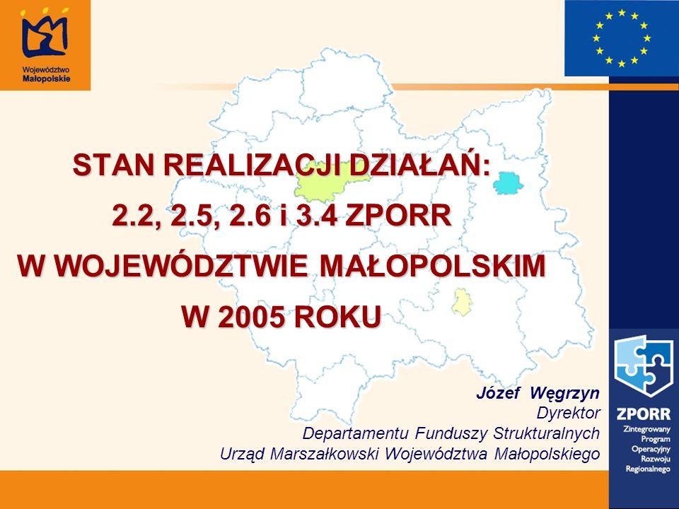 STAN REALIZACJI DZIAŁAŃ: 2.2, 2.5, 2.6 i 3.4 ZPORR W WOJEWÓDZTWIE MAŁOPOLSKIM W 2005 ROKU Józef Węgrzyn Dyrektor Departamentu Funduszy Strukturalnych Urząd Marszałkowski Województwa Małopolskiego