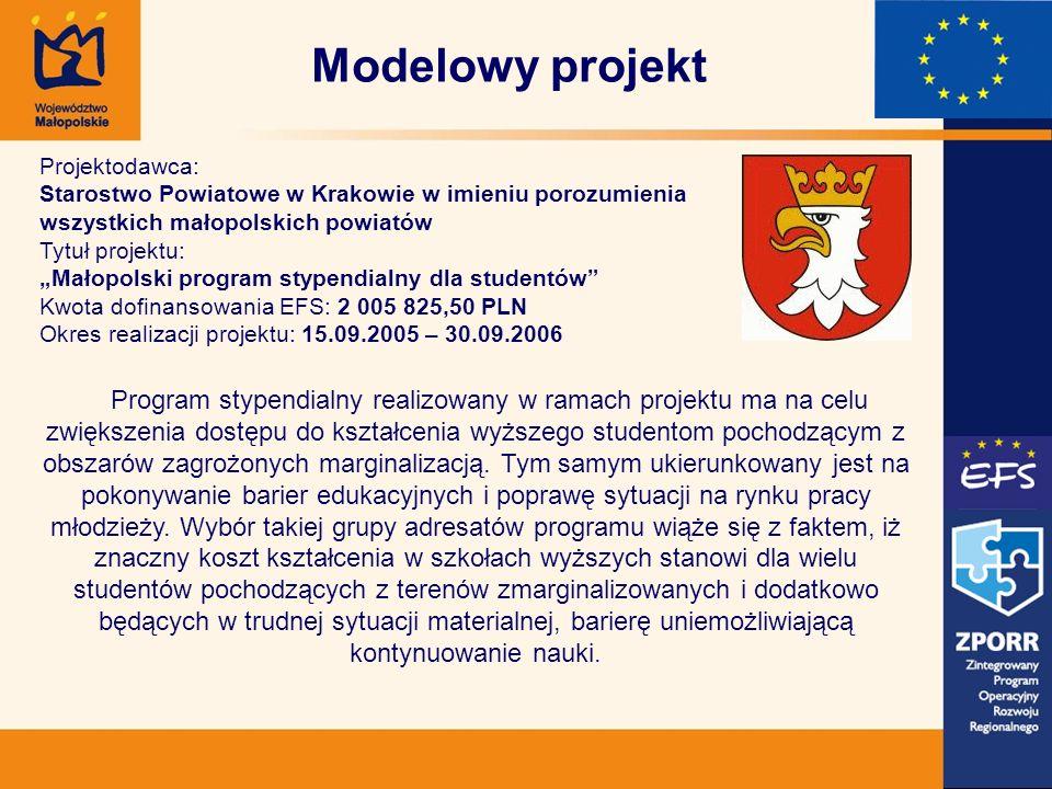 Modelowy projekt Projektodawca: Starostwo Powiatowe w Krakowie w imieniu porozumienia wszystkich małopolskich powiatów Tytuł projektu: Małopolski prog