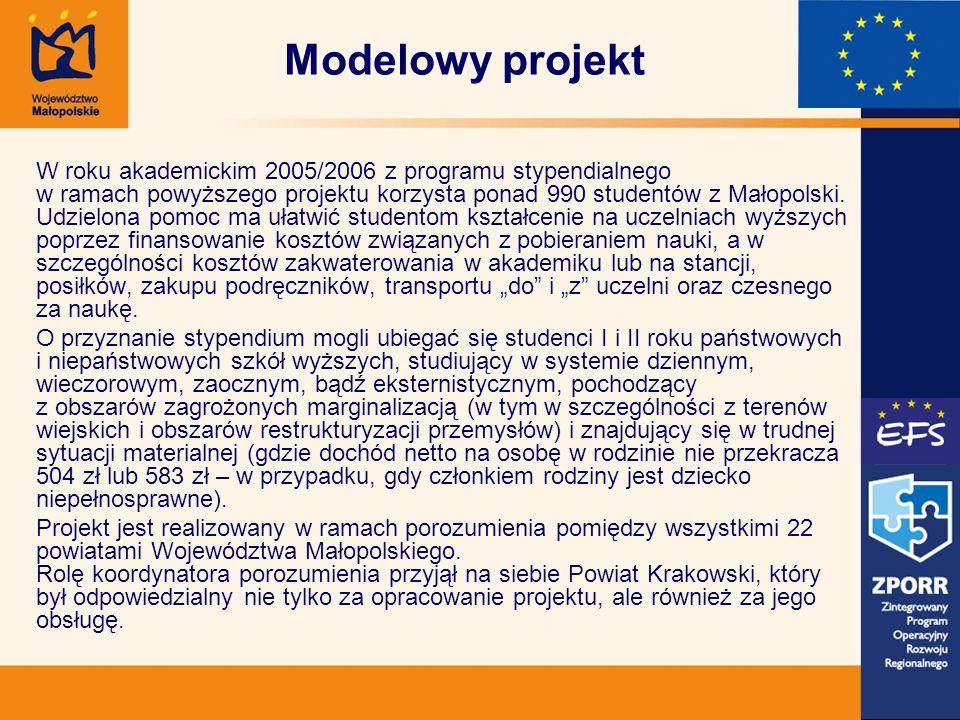 W roku akademickim 2005/2006 z programu stypendialnego w ramach powyższego projektu korzysta ponad 990 studentów z Małopolski. Udzielona pomoc ma ułat