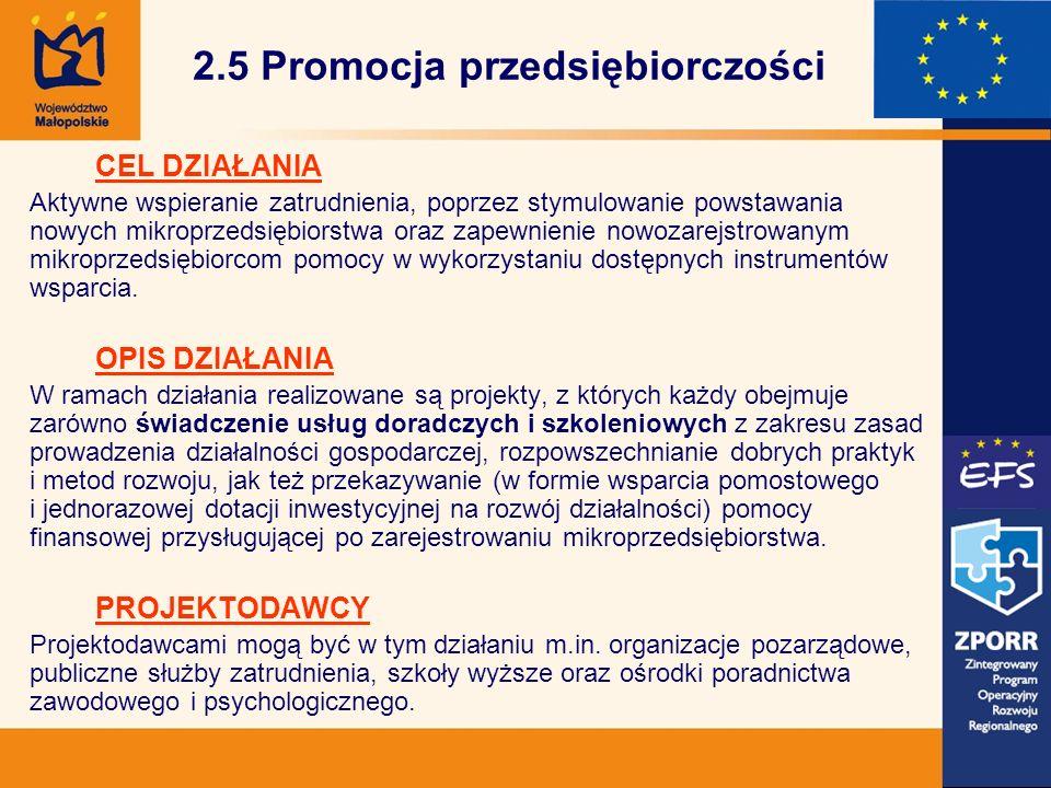 2.5 Promocja przedsiębiorczości CEL DZIAŁANIA Aktywne wspieranie zatrudnienia, poprzez stymulowanie powstawania nowych mikroprzedsiębiorstwa oraz zapewnienie nowozarejstrowanym mikroprzedsiębiorcom pomocy w wykorzystaniu dostępnych instrumentów wsparcia.