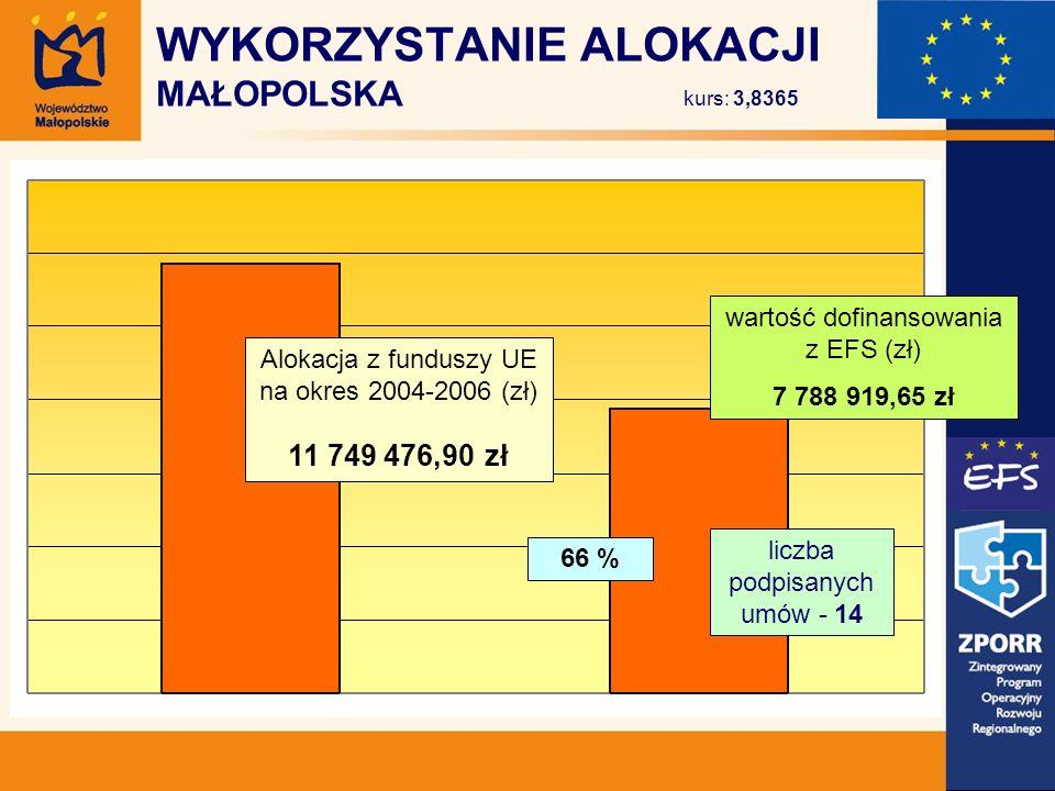 Alokacja z funduszy UE na okres 2004-2006 (zł) 11 749 476,90 zł wartość dofinansowania z EFS (zł) 7 788 919,65 zł 66 % liczba podpisanych umów - 14 WYKORZYSTANIE ALOKACJI MAŁOPOLSKA kurs: 3,8365