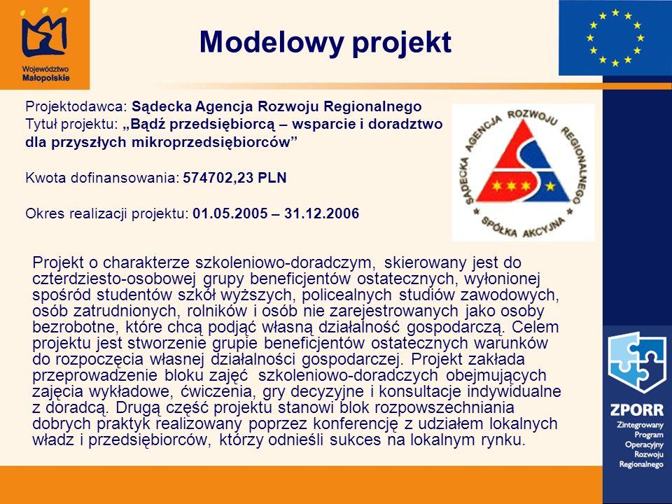 Modelowy projekt Projekt o charakterze szkoleniowo-doradczym, skierowany jest do czterdziesto-osobowej grupy beneficjentów ostatecznych, wyłonionej sp