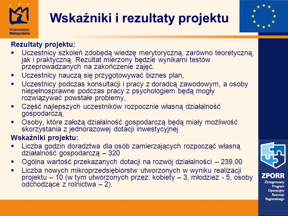 Wskaźniki i rezultaty projektu Rezultaty projektu: Uczestnicy szkoleń zdobędą wiedzę merytoryczną, zarówno teoretyczną, jak i praktyczną.