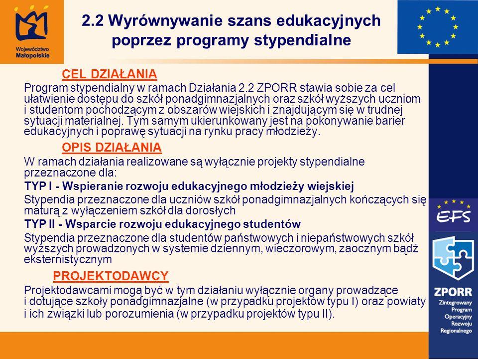 2.2 Wyrównywanie szans edukacyjnych poprzez programy stypendialne CEL DZIAŁANIA Program stypendialny w ramach Działania 2.2 ZPORR stawia sobie za cel