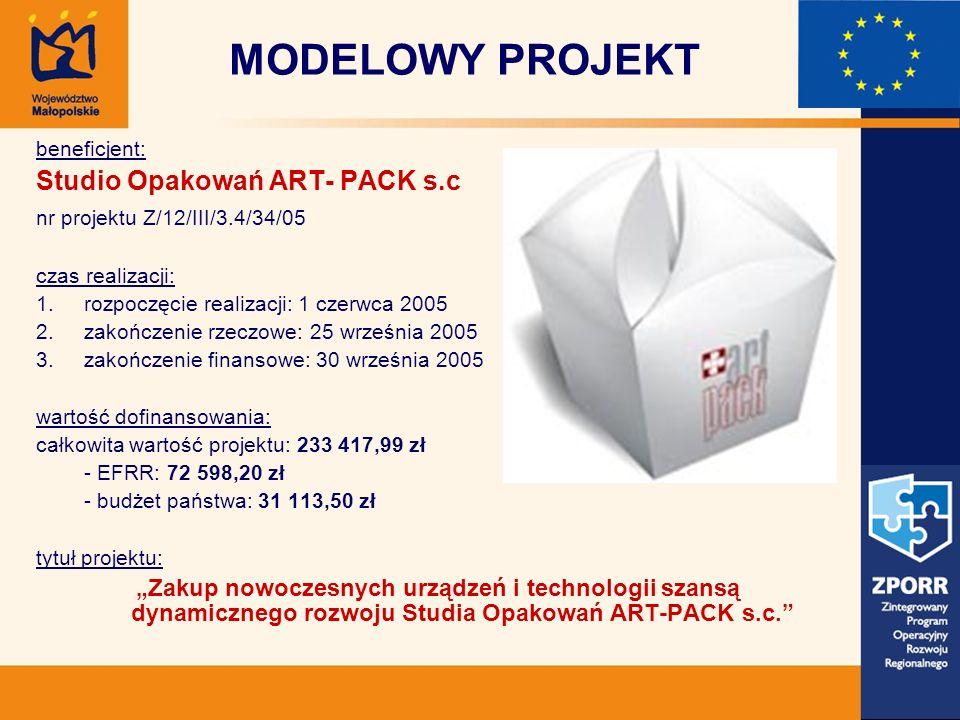 MODELOWY PROJEKT beneficjent: Studio Opakowań ART- PACK s.c nr projektu Z/12/III/3.4/34/05 czas realizacji: 1.rozpoczęcie realizacji: 1 czerwca 2005 2.zakończenie rzeczowe: 25 września 2005 3.zakończenie finansowe: 30 września 2005 wartość dofinansowania: całkowita wartość projektu: 233 417,99 zł - EFRR: 72 598,20 zł - budżet państwa: 31 113,50 zł tytuł projektu: Zakup nowoczesnych urządzeń i technologii szansą dynamicznego rozwoju Studia Opakowań ART-PACK s.c.