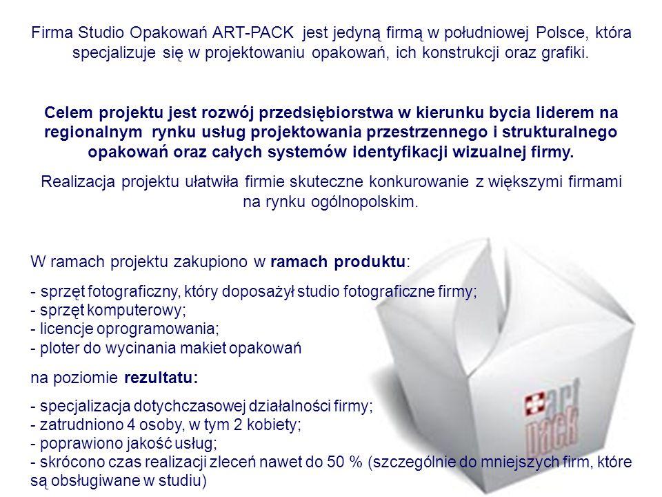 Firma Studio Opakowań ART-PACK jest jedyną firmą w południowej Polsce, która specjalizuje się w projektowaniu opakowań, ich konstrukcji oraz grafiki.