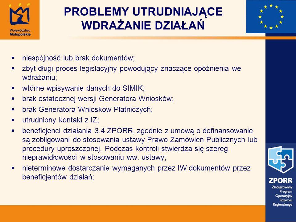 PROBLEMY UTRUDNIAJĄCE WDRAŻANIE DZIAŁAŃ niespójność lub brak dokumentów; zbyt długi proces legislacyjny powodujący znaczące opóźnienia we wdrażaniu; wtórne wpisywanie danych do SIMIK; brak ostatecznej wersji Generatora Wniosków; brak Generatora Wniosków Płatniczych; utrudniony kontakt z IZ; beneficjenci działania 3.4 ZPORR, zgodnie z umową o dofinansowanie są zobligowani do stosowania ustawy Prawo Zamówień Publicznych lub procedury uproszczonej.