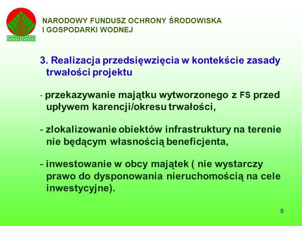 20 NARODOWY FUNDUSZ OCHRONY ŚRODOWISKA I GOSPODARKI WODNEJ Lp.Zakres przedmiotowy kontrolowanych umów Ilość kontroli w 2007 r.