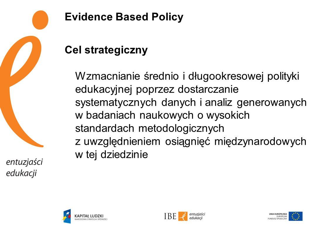 Evidence Based Policy Cel strategiczny Wzmacnianie średnio i długookresowej polityki edukacyjnej poprzez dostarczanie systematycznych danych i analiz
