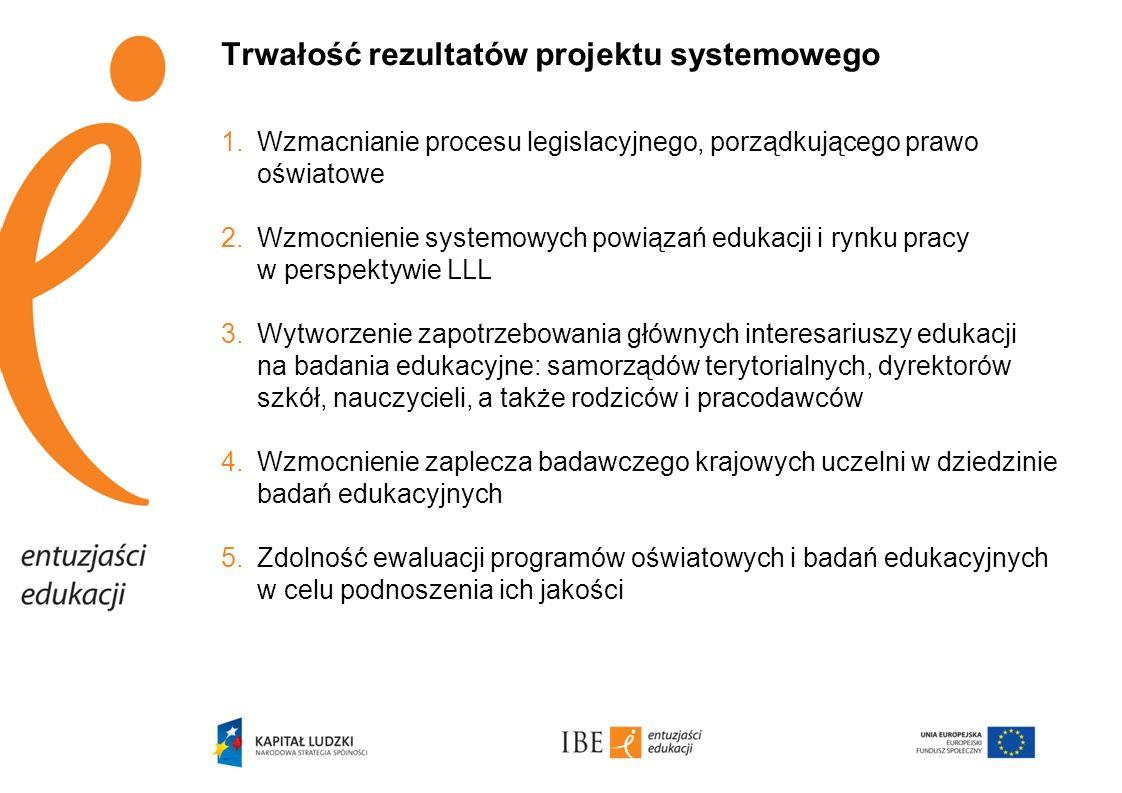 Trwałość rezultatów projektu systemowego 1.Wzmacnianie procesu legislacyjnego, porządkującego prawo oświatowe 2.Wzmocnienie systemowych powiązań eduka