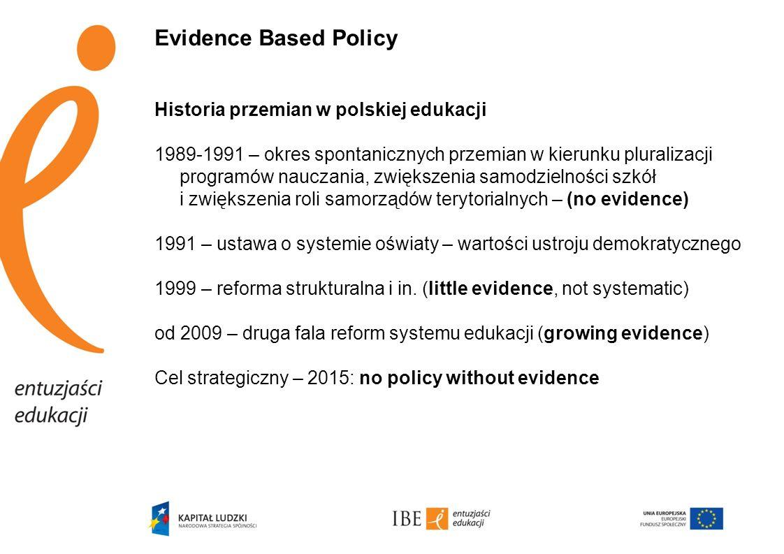 Główny cel obecnej polityki edukacyjnej – podnoszenie jakości edukacji poprzez: Reformy programowe (w tym obniżenie wieku rozpoczynania edukacji): -kształcenie ogólne: 2009-2015-2021 -kształcenie zawodowe 2012-2016 -system egzaminów zewnętrznych: 2010, 2012, 2015, 2016 Reformy systemowe: -modernizacja nadzoru pedagogicznego: 2010, 2012 +implementacja -kompleksowy system wsparcia dla szkół: 2011, 2012 +implementacja Reformę strukturalną: od 2011 roku ewolucyjne grupowanie szkół służące podnoszeniu jakości edukacji oraz efektywnemu gospodarowaniu zasobami Zmiany statusu zawodowego nauczyciela: 2007-2012 +implementacja