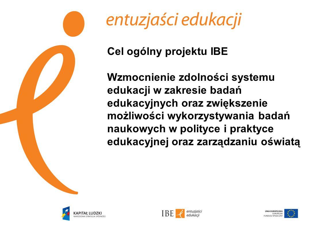1.Stworzenie zasobów informacyjnych dla polityki edukacyjnej w oparciu o interdyscyplinarne badania 2.Monitorowanie systemu edukacji i działalności badawczej w kraju i za granicą pod kątem doskonalenia polskiego systemu edukacji 3.Wzmocnienie instytucjonalnego i kadrowego rozwoju badań edukacyjnych 4.Dotarcie z informacjami o rezultatach projektu do szeroko rozumianych środowisk oświatowych; upublicznienie baz danych i narzędzi w domenie publicznej Cele szczegółowe