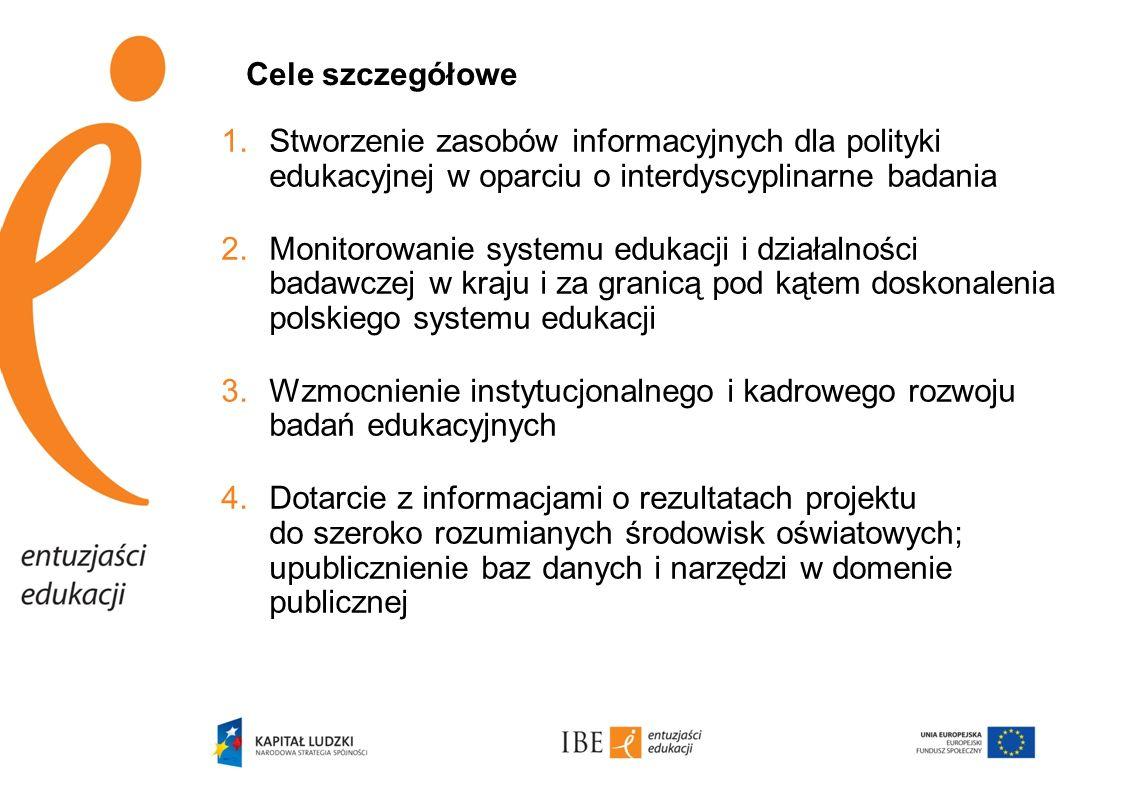1.Stworzenie zasobów informacyjnych dla polityki edukacyjnej w oparciu o interdyscyplinarne badania 2.Monitorowanie systemu edukacji i działalności ba