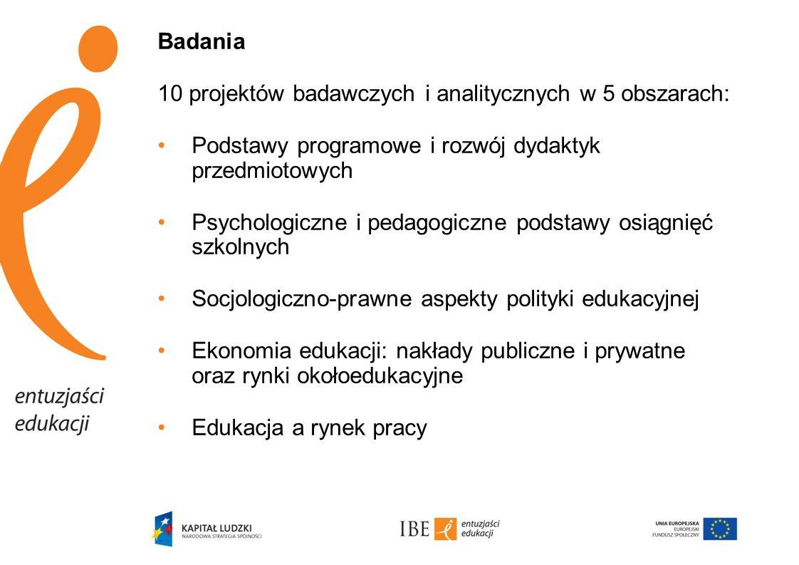 Badania 10 projektów badawczych i analitycznych w 5 obszarach: Podstawy programowe i rozwój dydaktyk przedmiotowych Psychologiczne i pedagogiczne pods