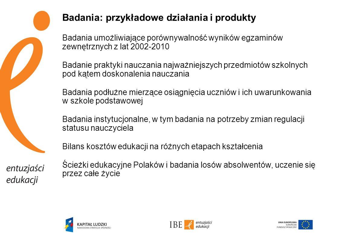 Badania: przykładowe działania i produkty Badania umożliwiające porównywalność wyników egzaminów zewnętrznych z lat 2002-2010 Badanie praktyki nauczan