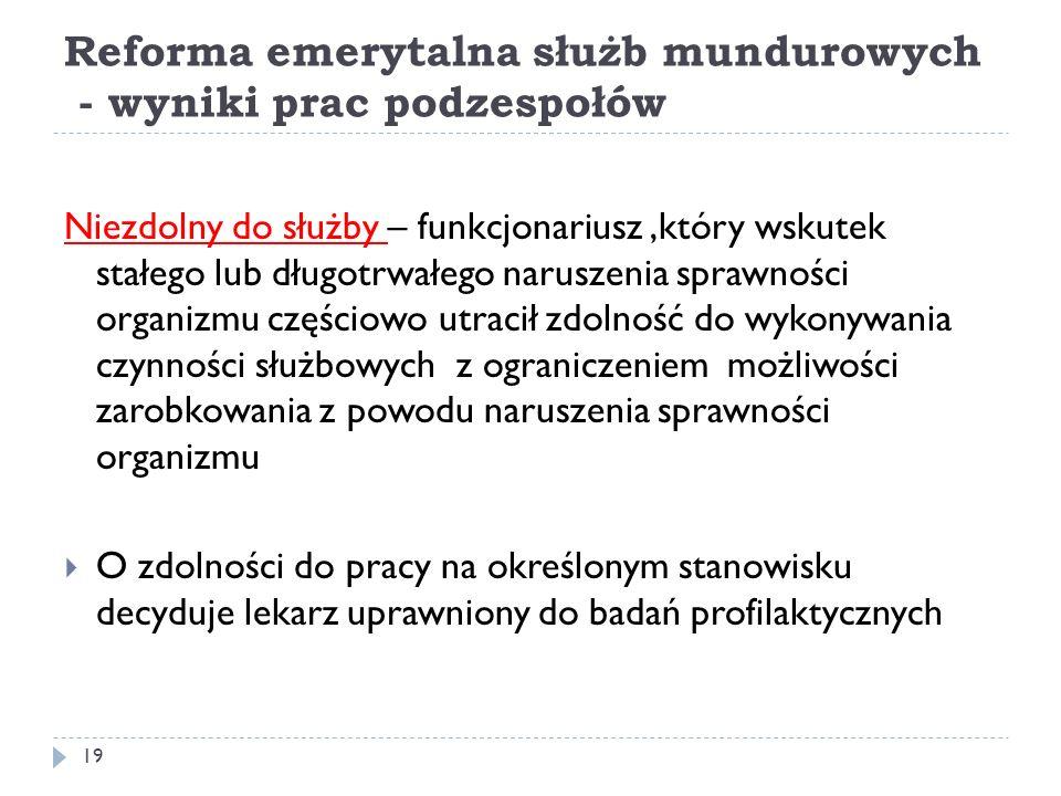 Reforma emerytalna służb mundurowych - wyniki prac podzespołów Niezdolny do służby – funkcjonariusz,który wskutek stałego lub długotrwałego naruszenia