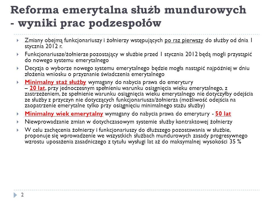 Reforma emerytalna służb mundurowych - wyniki prac podzespołów Zmiana strukturalna komisji lekarskich dwustopniowy system orzecznictwa lekarskiego /rejonowe i okręgowe komisje lekarskie/ likwidacja CKL 23