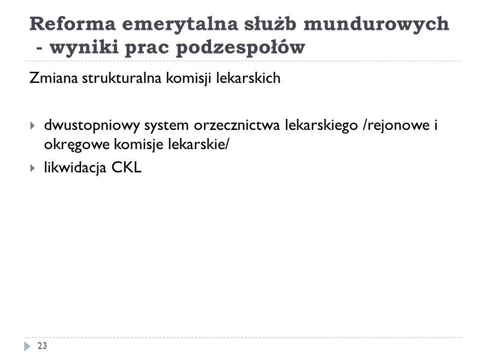 Reforma emerytalna służb mundurowych - wyniki prac podzespołów Zmiana strukturalna komisji lekarskich dwustopniowy system orzecznictwa lekarskiego /re
