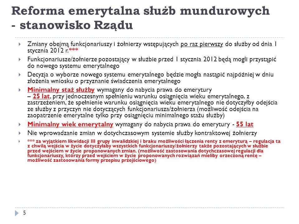 6 Reforma emerytalna służb mundurowych - stanowisko Rządu Linie niebieskie – dyskutowane zmiany dotyczące wszystkich funkcjonariuszy oraz wprowadzenie dodatkowych regulacji dotyczących funkcjonariuszy rozpoczynających pracę po 1 stycznia 2012 roku tj.