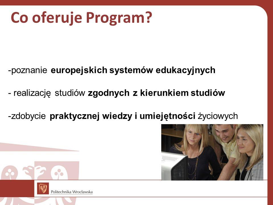 Co oferuje Program? -poznanie europejskich systemów edukacyjnych - realizację studiów zgodnych z kierunkiem studiów -zdobycie praktycznej wiedzy i umi