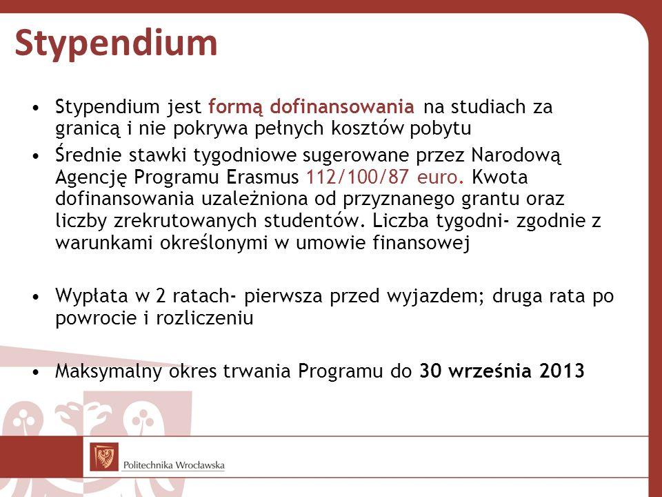 Stypendium Stypendium jest formą dofinansowania na studiach za granicą i nie pokrywa pełnych kosztów pobytu Średnie stawki tygodniowe sugerowane przez Narodową Agencję Programu Erasmus 112/100/87 euro.